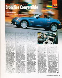 2005 Chrysler Crossfire Convertible   First Drive   Classic Article