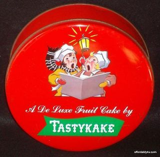 Vintage Tastykake Fruit Cake Tin Carolers Before Zip Code Philadelphia