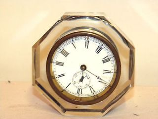 Antique Cut Glass Clock With Alarm By French Clock Company E.N Welch