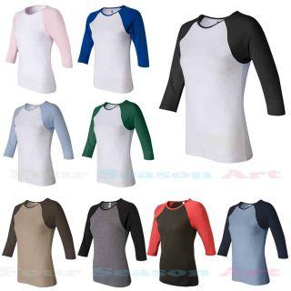 Bella Ladies Baseball Raglan 3/4 Sleeve T Shirt TEE Womens 2000, Size