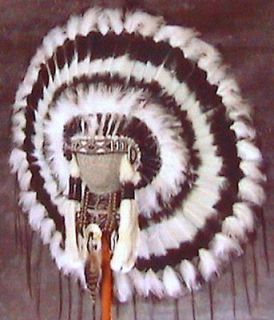 Native American Navajo War Bonnet Headdress 36 diameter SHADOW