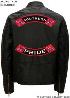 SOUTHERN PRIDE BIKER PATCH Confederate Flag BACK ROCKER embroidered