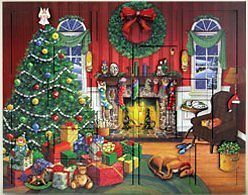 Byers Choice Wooden Fireside Countdown Christmas Advent Calendar AC03