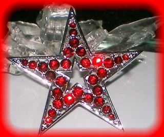 RUBY RED CHRISTMAS STAR PIN/BROOCH~SWA ROVSKI CRYSTAL