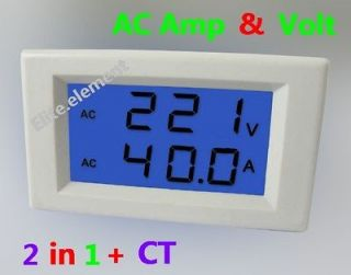 AC 300V 100A Blue LCD Amp Volt Combo Panel Meter Doesnt Require Power