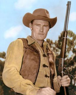 CHUCK CONNORS 2 THE RIFLEMAN 1960 HOLLYWOOD ACTOR 8X10 HAND COLOR