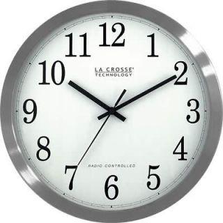 Crosse WT 3126B 12 Atomic Analog Wall Clock w/ Stainless Steel Case