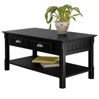 New Timber Wooden Coffee Table w/ Storage & Shelf Black
