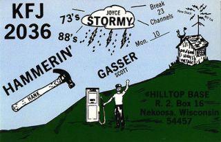vintage CB radio QSL postcard gas pump hammer comic 1970s Nekoosa WI