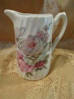 Newly listed Vintage Pink Rose White China Creamer Pitcher