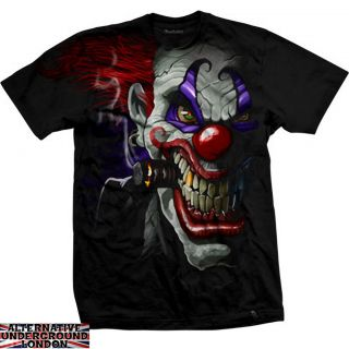 DARKSIDE CLOTHING CLOWN BLACK T SHIRT JOKER EVIL HORROR CARNIVAL