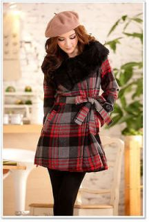 2211B Japan Korea Fashion Women Lady Red Plaid Check Faux Fur Shrug