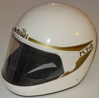 KIWI K 14 VINTAGE MOTORCYCLE HELMET w FACE SHIELD WHITE SIZE MEDIUM