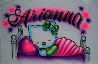 Airbrush Pillowcase Personalized Name Sleeping Hello Kitty One Side