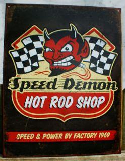 Demon Hot Rod Shop Tin metal Sign red devil cigar checkered flag s7