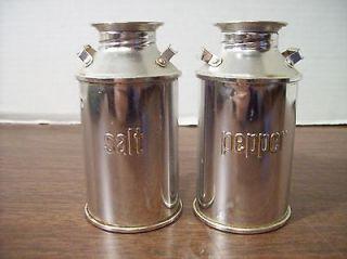 Vintage Metal Milk Cans Salt & Pepper Shakers JAPAN