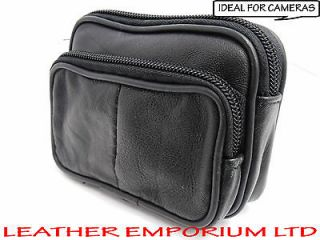 SOFT BLACK LEATHER COIN POUCH PURSE CAMERA WALLET WITH BELT LOOP AND