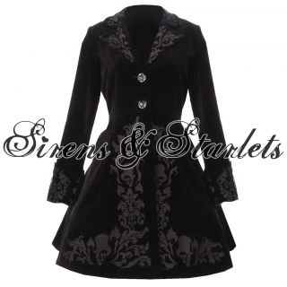 HELL BUNNY NEW BLACK VELVET VICTORIAN GOTHIC STEAMPUNK OVER COAT