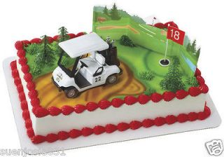 Golf Cart Cake Decoration Kit Hole in One Topper White Cart NEW