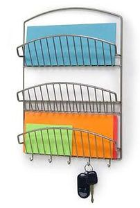 Chrome Wall Mounted Three Shelf Mail Organizer and Key Rack by