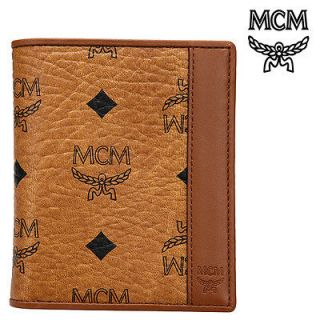 MCM Cognac Visetos Mens Vertical Small Wallet Purse Leather Authentic