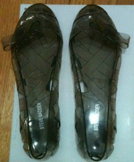 STEVE MADDEN Jolli Clear Smoke colored Jelly Shoes Bow Ballet Flat