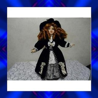 16 Angelina Collection Porcelain Doll, Victorian style dress & Hat