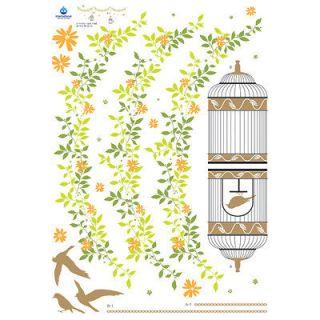 Bird Sanctuary Instant Art Home Decor Wall Sticker Decal Sheet
