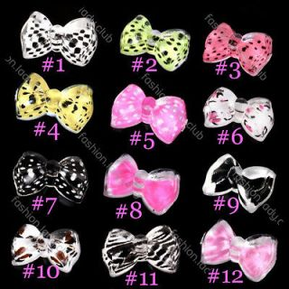 New 20x Acrylic 3D Bow Tie Glitters Stickers Beads Nail Art Tips DIY