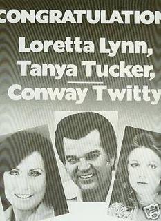 TANYA TUCKER LORETTA LYNN C. TWITTY 1977 Poster Ad