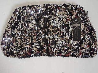 Kardashian Kollection Handbag Purse Sequin Black Silver Clutch