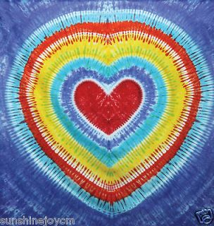 Heart Tie Dye Tapestry QUEEN BED Cover Sheet 85X100