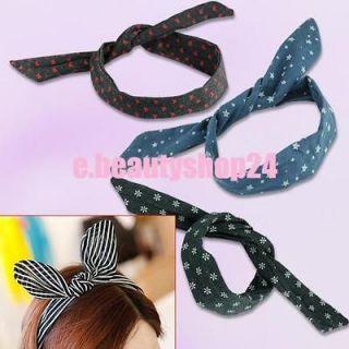 Rabbit Ear Denim Headband Hair Band Scarf Party Cute