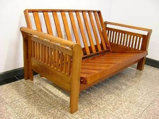 Cottage Solid Natural Wood Color Loveseat Futon Frame Couch Sofa Bed