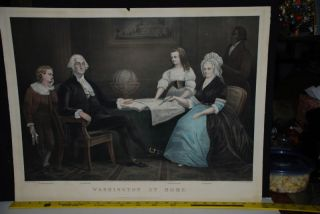 currier ives Washington At Home print hand colored 1867