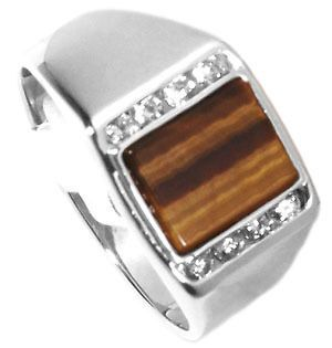 Mens Tiger Eye with CZ Stones Rhodium Plated Ring New