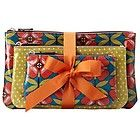 FOSSIL KEY PER OIL CLOTH FLORAL TRIPLE MAKEUP BAG PURSE FREE P&P UK