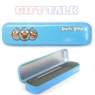 Angry Birds Tin Metal Pencil Pen Case Box   Blue Bird School supplies