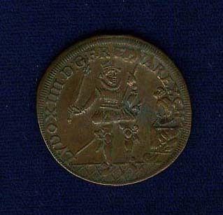 FRANCE LOUIS XIV 1618 COPPER TOKEN/JETON/COIN, BEAUTIFUL PATTERN