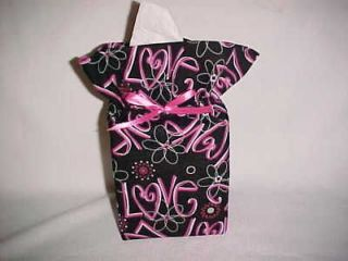 Hot pink LOVE on a black Tissue Box Cover Classy