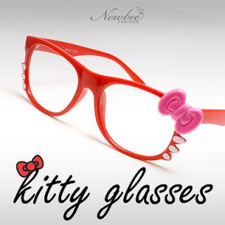 Cute Hello Kitty Style Glasses Clear Non Optical Lenses Red Frame