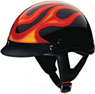 Helmet   Black w/ Flame DOT Motorcycle Scooter S   XXL CLEARANCE
