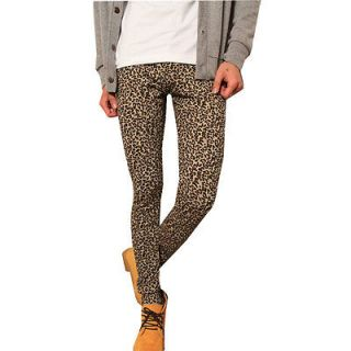 Men Stylish Leopard Prints Slim Fit Three Tone Leggings Pants W26