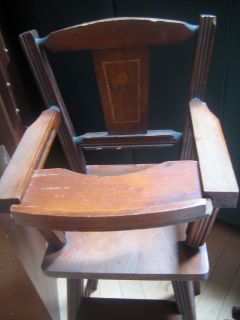 Antique Doll Furniture High Chair Removable Tray Great Condition