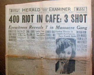 BEST orignl 1929 Chicago newspaper ST VALENTINES DAY MASSACRE