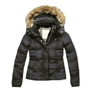Abercrombie & Fitch Corrine Faux Fur Down Jacket Dark Grey $200 XS