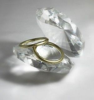CRYSTAL GOLD RINGS IN SHELL Engagement Gift, Wedding Cake Topper