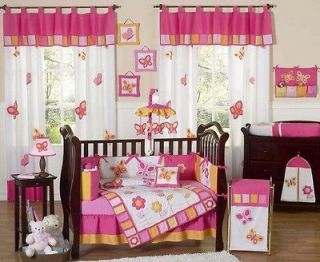 YELLOW ORANGE BUTTERFLY BABY GIRL CRIB BEDDING SET ROOM COLLECTION