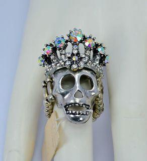 Kirks Folly Skull Stretch Ring w/ Crown
