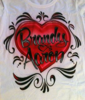 Personlized Couples Names T Shirt Airbrush Heart size S M L XL Shirt